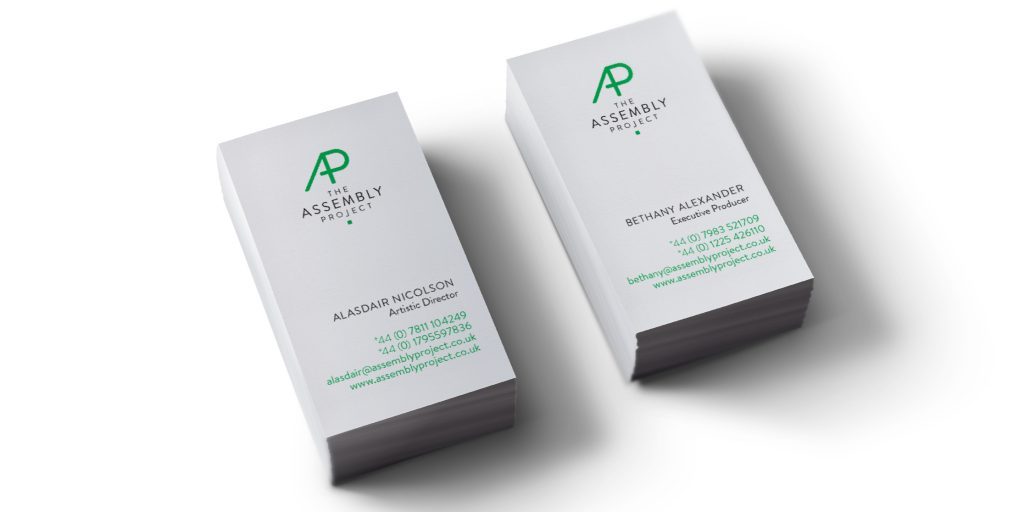 Business cards designed for the artistic director and executive producer of Assembly Project