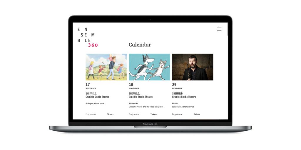 The desktop view of the Ensemble 360 calendar