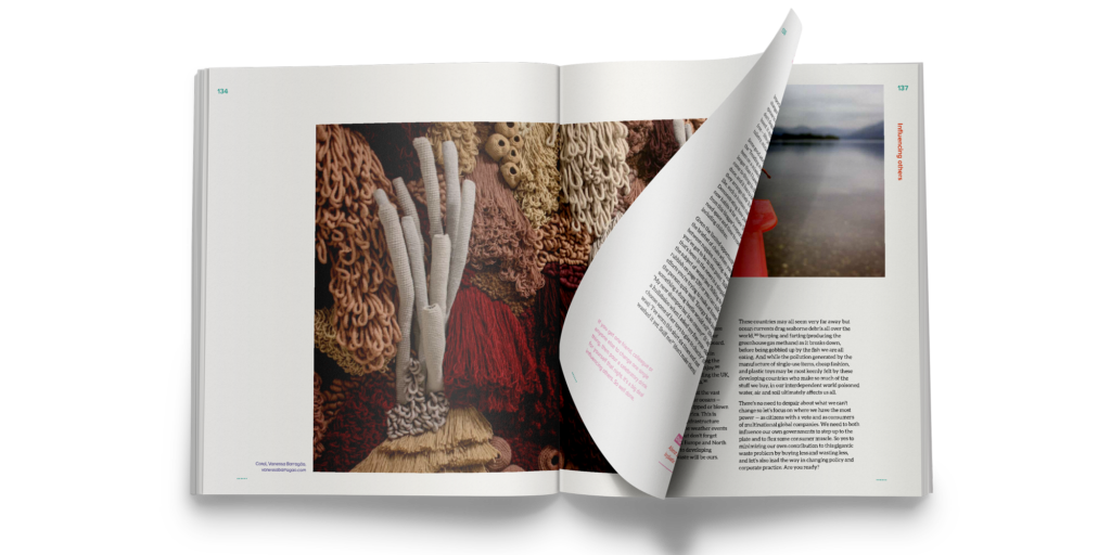 A spread from the activism and influence chapter, with a large image of a textile sculpture; Coral, Vanessa Barragão